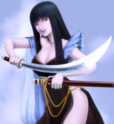 1girl black_hair breasts brown_eyes cleavage cowboy_shot highres holding_sword holding_weapon katana large_breasts lips long_hair looking_at_viewer nose open_mouth original realistic scabbard sheath smile solo sword weapon yukinoboo