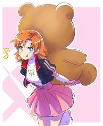 1girl alternate_costume blue_eyes cleavage_cutout commentary holding_doll iesupa jacket nora_valkyrie orange_hair pink_skirt rwby rwby_chibi skirt smile solo stuffed_animal stuffed_toy teddy_bear tongue tongue_out