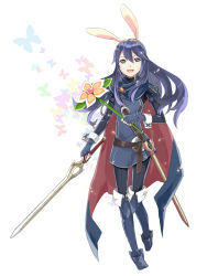 1girl absurdres animal_ears blue_eyes blue_hair boots bunny_ears butterfly cape fire_emblem fire_emblem:_kakusei flower highres long_hair lucina menoko open_mouth smile solo super_smash_bros. sword tiara weapon