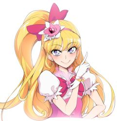 1girl asahina_mirai blonde_hair bow bracelet cure_miracle earrings gloves hair_bow hairband jewelry long_hair looking_at_viewer mahou_girls_precure! precure purple_eyes sian side_ponytail simple_background smile solo white_background white_gloves
