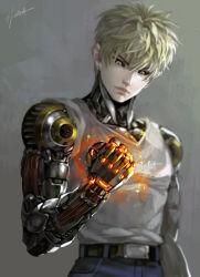 black_sclera blonde_hair blurry clenched_hand cyborg earrings energy genos jewelry kim_yura_(goddess_mechanic) male_focus onepunch_man signature tank_top upper_body yellow_eyes