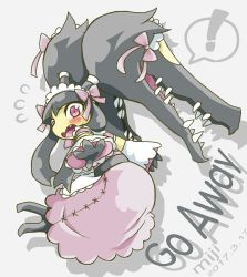 ! 2017 apron artist_name blush bow dated detached_sleeves dress embarrassed english fang flying_sweatdrops lolita_fashion maid_apron maid_cap maid_headdress mawile mega_mawile mega_pokemon miji open_mouth outstretched_hand pink_dress pokemon pokemon_(creature) purple_eyes