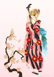 1girl blonde_hair closed_mouth floral_background floral_print full_body instrument japanese_clothes kimono long_hair long_sleeves miyabi_akino nadeshiko_doremisora sandals smile solo standing white_background wide_sleeves yellow_eyes