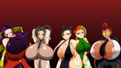 artist_kaiman breasts cammy_white chun-li crimson_viper gigantic_breasts huge_breasts ibuki large_breasts multiple_girls rose_(street_fighter) street_fighter tight