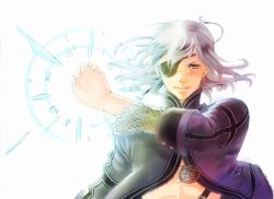 1boy aq_interactive blue_eyes eyepatch flow_k long_hair magic male_focus midriff mistwalker nintendo silver_hair solo the_last_story white_hair yuris_(the_last_story)