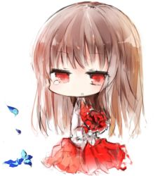 1girl :o akaki_aoki bangs brown_hair chibi dress flower ib ib_(ib) kotatu_(akaki01aoki00) long_sleeves petals red_dress red_eyes simple_background solo tears white_background