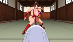 animated animated_gif anus ass breasts brown_hair close-up fatal_fury highres huge_breasts jyubei king_of_fighters shiranui_mai snk uncensored