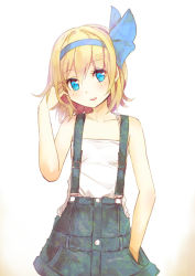 1girl bare_arms blonde_hair blue_eyes chemise culter hair_ribbon hand_in_hair hand_in_pocket ribbon shirt skirt smile solo suspenders touhou touhou_(pc-98)