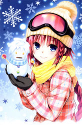 1girl absurdres beanie blue_eyes blush braid coat gloves goggles goggles_on_hat hair_ornament hat highres kurosaki_mea long_hair mittens official_art red_hair scan scarf smile snow snowman solo to_love-ru to_love-ru_darkness very_long_hair yabuki_kentarou