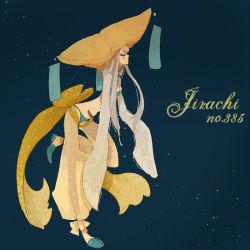 1girl bow costume harem_pants hat jirachi l_hakase long_hair pants personification pokemon silver_hair solo third_eye