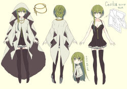 1girl arms_at_sides bangs bare_arms black_boots black_dress blush boots breasts character_sheet chibi cleavage collarbone cross cross_necklace dress full_body green_eyes green_hair habit hair_between_eyes hair_up halterneck high_heel_boots high_heels jewelry kazutake_hazano long_hair long_sleeves medium_breasts multiple_views necklace necklace_removed nun original short_dress sidelocks simple_background standing thigh_boots thighhighs translated turnaround veil wide_sleeves yellow_background