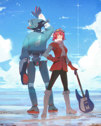 1girl ahoge arm_up artist_name back-to-back black_legwear blue_sky blush boots canti closed_mouth cloud coat day elbow_gloves flcl full_body gloves goggles goggles_on_head guitar guweiz hand_on_hip haruhara_haruko holding horizon instrument knee_boots looking_at_viewer machinery outdoors pantyhose pink_lips red_coat red_gloves red_hair robot sand scarf short_hair sky smile standing water white_boots white_scarf