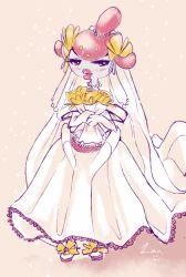 1girl artist_request blue_eyes blush dress lips medicham pokemon thick_lips wedding_dress