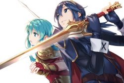 2girls aqua_eyes aqua_hair blue_eyes blue_hair cape eirika fingerless_gloves fire_emblem fire_emblem:_kakusei fire_emblem:_seima_no_kouseki fire_emblem_heroes gloves long_hair lucina multiple_girls simple_background smile sword tiara weapon white_background yomo_(majidon)