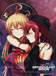 2girls bare_shoulders black_dress blonde_hair bracelet breasts brokeback_mountain chinese_clothes dress ear_piercing eyes_closed hecatia_lapislazuli hug jewelry junko_(touhou) koissa long_hair long_sleeves medium_breasts multiple_girls off-shoulder_shirt parody piercing red_hair shiny shiny_hair shirt smile t-shirt tabard tassel touhou upper_body yuri