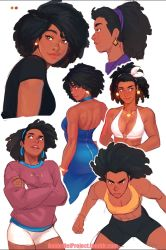 1girl afro annie_mei_project bike_shorts black_hair blue_dress breasts brown_eyes caleb_thomas cleavage collage cowboy_shot dark_skin dress earrings hairband jewelry lips medium_breasts mole mole_under_mouth necklace nose open-back_dress retro_mei short_hair solo sports_bra thick_eyebrows toned upper_body very_dark_skin white_bikini_top zipper