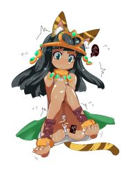 /\/\/\ 1girl :< animal_ears anklet bangs bare_shoulders barefoot bastet_(p&d) between_legs black_hair blunt_bangs blush cat_ears cat_tail collar covering covering_crotch dark_skin flying_sweatdrops frown gold green_eyes hand_between_legs hands_clasped have_to_pee highres hime_cut jewelry knees_to_chest knees_together_feet_apart panties puzzle_&_dragons simple_background solo striped striped_panties sweat t=k tail tears tiara toe_scrunch trembling underwear white_background