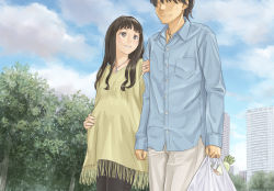 1boy 1girl bag black_hair brown_eyes brown_hair building city cloud couple denim eyes_closed grocery_bag hand_on_own_stomach helpig hetero jeans jewelry locked_arms long_hair necklace original outdoors pants pregnant ring shopping_bag short_hair skyscraper tree wedding_band