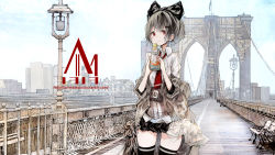 1girl akiyama_tama artist_name bangs belt black_bow black_legwear black_skirt blush bottle bow bridge buckle city coat collared_shirt corset flag grey_hair hair_bow hair_ornament hairclip highres lamppost light_frown looking_away looking_to_the_side miniskirt necktie off_shoulder open_clothes open_coat original outdoors park_bench photo_reference real_world_location red_eyes red_necktie scenery shirt short_hair skirt skyline sleeves_pushed_up solo standing thighhighs watermark web_address white_shirt zettai_ryouiki