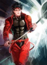 1boy black_hair dio_brando jacket jojo_no_kimyou_na_bouken magatsumagic red_jacket sign solo