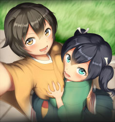 >:) 2girls :d arm_up asymmetrical_docking black_hair blue_eyes blue_hakama blurry blush breast_grab breast_press breasts brown_eyes brown_hair cowboy_shot depth_of_field eyebrows_visible_through_hair foreshortening from_above grabbing grass green_kimono hair_between_eyes hair_ribbon hakama hakama_skirt hand_on_another's_back hiryuu_(kantai_collection) japanese_clothes kantai_collection kimono large_breasts looking_at_viewer looking_up maku_ro motion_blur multiple_girls open_mouth outdoors ribbon self_shot smile souryuu_(kantai_collection) standing tareme two_side_up white_ribbon yellow_kimono