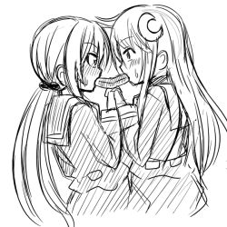 2girls belt blush collared_shirt crescent_hair_ornament eating ehoumaki eye_contact food hair_ornament hands_together ichimi interlocked_fingers kantai_collection long_hair long_sleeves looking_at_another low_twintails makizushi monochrome multiple_girls nagatsuki_(kantai_collection) satsuki_(kantai_collection) school_uniform serafuku setsubun shared_food shirt sushi sweatdrop twintails