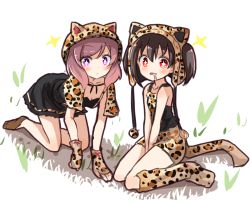 2girls all_fours animal_hat between_legs cat_hat dress drooling fingerless_gloves gloves hand_between_legs hat kneehighs leopard_ears leopard_print leopard_tail love_live!_school_idol_project multiple_girls nishikino_maki pom_pom_(clothes) purple_eyes red_eyes red_hair shikei_(jigglypuff) sitting sparkling_eyes twintails wariza yazawa_nico