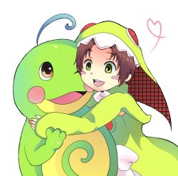 1girl brown_hair chamot_rosso green_eyes hat open_mouth pokemon politoed ribbon rokka_no_yuusha short_hair