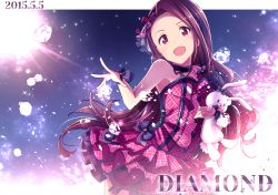 1girl :d bow brown_eyes brown_hair choker cowboy_shot dated diamond dress earrings glowing hair_bow hair_ornament hairband idolmaster ima_(lm_ew) jewelry light_particles long_hair looking_at_viewer minase_iori open_mouth petticoat plaid plaid_bow plaid_dress sleeveless sleeveless_dress smile solo sparkle stuffed_animal stuffed_bunny stuffed_toy sun wrist_cuffs