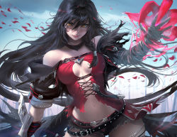 1girl armor artist_name bandage bandaged_arm bare_shoulders belly belt black_hair braid breasts chains claws coat highres navel sakimichan solo tales_of_(series) tales_of_berseria text velvet_crowe