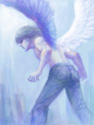 1boy angel_wings bent_over denim from_behind highres jeans male_focus nishi original pants shirtless silver_hair solo wings