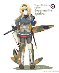 1girl airplane_wing blonde_hair blue_jacket boots buttons cup dakku_(ogitsune) english eyebrows_visible_through_hair full_body gloves green_eyes gun hairband holding holding_cup jacket long_hair long_sleeves machine_gun machinery mecha_musume military military_jacket military_uniform miniskirt original pantyhose personification pointy_ears royal_air_force scabbard scarf sheath sheathed skirt smile solo supermarine_spitfire sweater sword uniform union_jack weapon wings