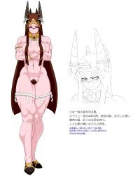 1girl areola_slip areolae armlet bracelet breasts brown_hair character_profile circlet cleavage crossed_arms hair_censor highres horn_ornament horns jewelry jill_besson_(vordandan) long_hair lots_of_jewelry muscle necklace nude oni original payot pink_skin pointy_shoes pubic_hair red_eyes rope shimenawa solo standing thick_thighs thighs translation_request very_long_hair