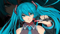 1girl aqua_eyes aqua_hair blood detached_sleeves face hatsune_miku head_tilt highres long_hair looking_at_viewer necktie razor_blade saggitary solo twintails vocaloid