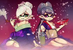 +_+ 2girls alcohol alternate_costume aori_(splatoon) bangs bare_legs bare_shoulders black_hair blush bottle breasts cherry_blossoms cleavage collarbone cousins cup domino_mask fangs gradient gradient_background green_eyes high_ponytail highres holding holding_pipe hotaru_(splatoon) idol japanese_clothes junco kimono knee_blush light_smile long_hair long_sleeves looking_at_viewer mask medium_breasts mole mole_under_eye multiple_girls obi off_shoulder open_mouth parted_lips petals pink_eyes pipe pointy_ears ponytail red_background sakazuki sake sake_bottle sash short_hair simple_background sitting smile smoke smoking smug splatoon squid swept_bangs teeth tentacle_hair thick_eyebrows very_long_hair white_hair wide_sleeves yokozuwari