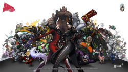 6+boys 6+girls age_difference ahoge ai_rin anniversary arm_strap armor avatar:_the_last_airbender bayonetta bayonetta_(character) bayonetta_2 beard big_bull_crocker black_baron black_hair blacker_baron blonde_hair blue_eyes blue_hair bodysuit bow bowtie brass_knuckles breasts buckle card cereza chainsaw character_request chibi claw_(weapon) company_connection cornrows crossed_arms crossover dark_skin domino_mask dual_wielding durga_(max_anarchy) earrings edgar_oinkie electricity english enzo everyone eyelashes facial_hair feathers finger_on_trigger fingerless_gloves food foreshortening fruit fur_trim glasses gloves glowing glowing_eyes goggles goggles_on_head green_hair gun hair_ribbon handgun hat headset helmet highres horns immorta infinite_space jack_cayman jeanne_(bayonetta) jewelry jumping korra legs_apart leonhardt_victorion lips lipstick logo loki_(bayonetta) long_hair looking_at_viewer luka_redgrave madworld makeup mask mathilda mathilda_(madworld) max_anarchy maximillian_caxton metal_gear_(series) metal_gear_rising:_revengeance mole mole_under_mouth mugen_kouro multicolored_hair multiple_boys multiple_girls muscle naga_(avatar) necklace nikolai_dmitri_bulygin official_art open_mouth outstretched_arm pink_skin platinum_games platinumgames_inc. ponytail power_armor purple_hair raiden red_eyes red_lipstick ribbon riding rifle robot rodin sam_gideon senator_armstrong sheath sheathed short_hair side_slit simple_background skull spiked_hair standing streaked_hair sunglasses sunglasses_on_head sword tattoo the_legend_of_korra the_wonderful_101 torn_clothes two-tone_hair vanquish vanquish_(game) very_long_hair wallpaper watermelon weapon white_background white_hair widescreen wonder_black wonder_blue wonder_director wonder_green wonder_pink wonder_red wonder_white wonder_yellow yuri_(infinite_space) yuri_(mugen_kouro) zero_(max_anarchy)