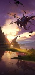 bridge city cloud dragon fantasy floating_city floating_island landscape mountain no_humans original reflection scenery signature sky sunset technoheart tower tree twilight water