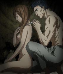1girl berserk boy brown_hair highres long_hair luca_(berserk) muscle necklace no_nipples nude sitting smile stitched