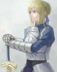 1girl ahoge armor blonde_hair excalibur fate/stay_night fate_(series) gauntlets green_eyes mukuo saber solo sword weapon