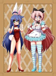 2girls :d ahoge alice_(wonderland) alice_(wonderland)_(cosplay) alice_in_wonderland argyle_background blue_hair blush border bow breasts bunny_tail bunnysuit cleavage cosplay covered_navel dress glasses green_eyes hair_bow highres izumi_konata long_hair looking_at_viewer lucky_star mizushima_(p201112) multiple_girls open_mouth pink_hair purple_eyes smile striped striped_legwear tail takara_miyuki thighhighs very_long_hair