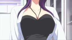 11eyes 1girl akamine_saiko animated animated_gif bouncing_breasts breasts glasses purple_hair yellow_eyes