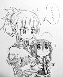 2girls :d :| ahoge bare_shoulders braid carrying chibi closed_mouth crossover fate/grand_order fate_(series) fingerless_gloves french_braid gloves gouta_(nagishiro6624) hair_flaps hair_ornament hair_ribbon kantai_collection monochrome multiple_girls necktie open_mouth pleated_skirt remodel_(kantai_collection) ribbon saber_of_red school_uniform serafuku shigure_(kantai_collection) short_ponytail single_braid sketch skirt smile sweatdrop translated