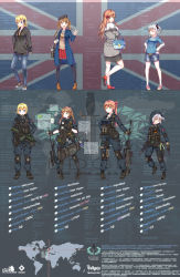 4girls absurdres ash ash:concussion highres long_hair map multiple_girls multiple_views union_jack united_kingdom weapon white_hair yakumo_ling