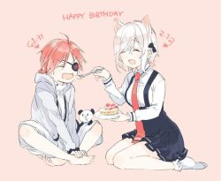 1boy 1girl :d ^_^ ahoge animal_ears barefoot birthday bobby_socks cake cat_ears eyepatch eyes_closed fang food from_side happy_birthday hood hoodie iizuna_neneko indian_style jpeg_artifacts kudamimi_no_neko nakayama_miyuki no_shoes omogami_mirai open_mouth pink_background shorts simple_background sitting slice_of_cake smile socks white_legwear