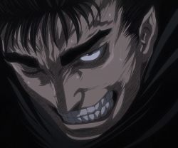 1boy berserk black_hair clenched_teeth guts highres solo stitched