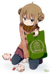 1girl 2017 :3 ahoge artist_name bangs bird black_legwear blush brown_coat brown_hair brown_scarf brown_skirt cat chick coat copyright_name dated double_bun duffel_coat eyebrows_visible_through_hair green_eyes holding_bag kneeling looking_at_viewer ootani_nyuu pantyhose parted_lips plaid plaid_scarf pleated_skirt ragho_no_erika scarf signature simple_background skirt solo stuffed_animal stuffed_chicken stuffed_toy sukurizo! tareme white_background year_of_the_rooster