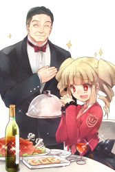 +_+ 07th_expansion 1boy 1girl ^_^ alcohol beelzebub beelzebub_(umineko) black_hair blonde_hair bowtie cup drill_hair drinking_glass drooling eyes_closed food fork formal gouda_toshirou hand_on_own_chest hands_clasped necktie no_naku_koro_ni_(series) open_mouth plate red_eyes smile sparkle stakes_of_purgatory suit turkey_(food) twin_drills twintails umineko_no_naku_koro_ni wanko_(pixiv) wine wine_glass