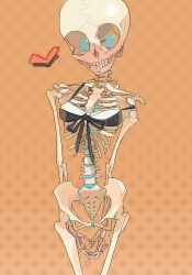 1girl amiami arms_behind_back bottomless female heart monster_girl original skeleton skull solo