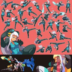 1girl alternate_color attack attacking black_legwear blue_dress blue_eyes blue_nails blue_skirt bodysuit borrowed_character breasts clone collage collar crane_stance divekick_(attack) dress electro_emilia energy_blast fighting_game fighting_game_portrait fighting_stance flying_kick hand_on_hip headgear heel_drop kicking kneeling leg_sweep legs long_hair microdress multiple_girls neon_trim original oversplit palette_swap palm_strike panties panties_over_pantyhose pantyhose parody payot pink_background pixel_art punching sb silver_hair skirt split sprite_art sprite_sheet sprites underwear uppercut very_long_hair white_hair