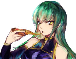 1girl bare_shoulders c.c. code_geass eating food green_hair long_hair mi_bait pizza simple_background sketch solo upper_body white_background yellow_eyes